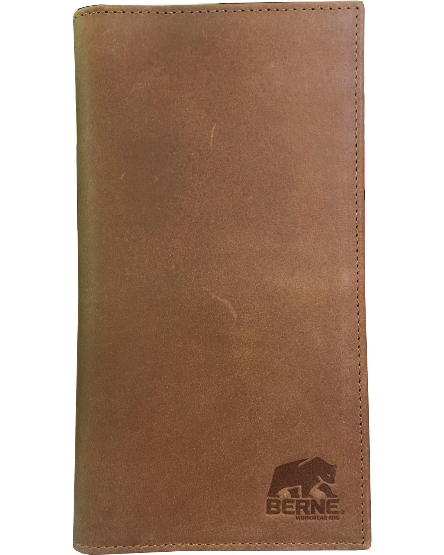 bee054b38882 Berne Men's Tan Genuine Leather Checkbook Wallet