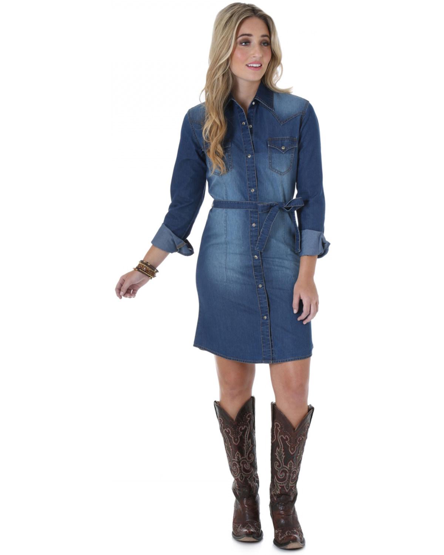 5af860a53a1 Wrangler Women s Long Sleeve Denim Dress