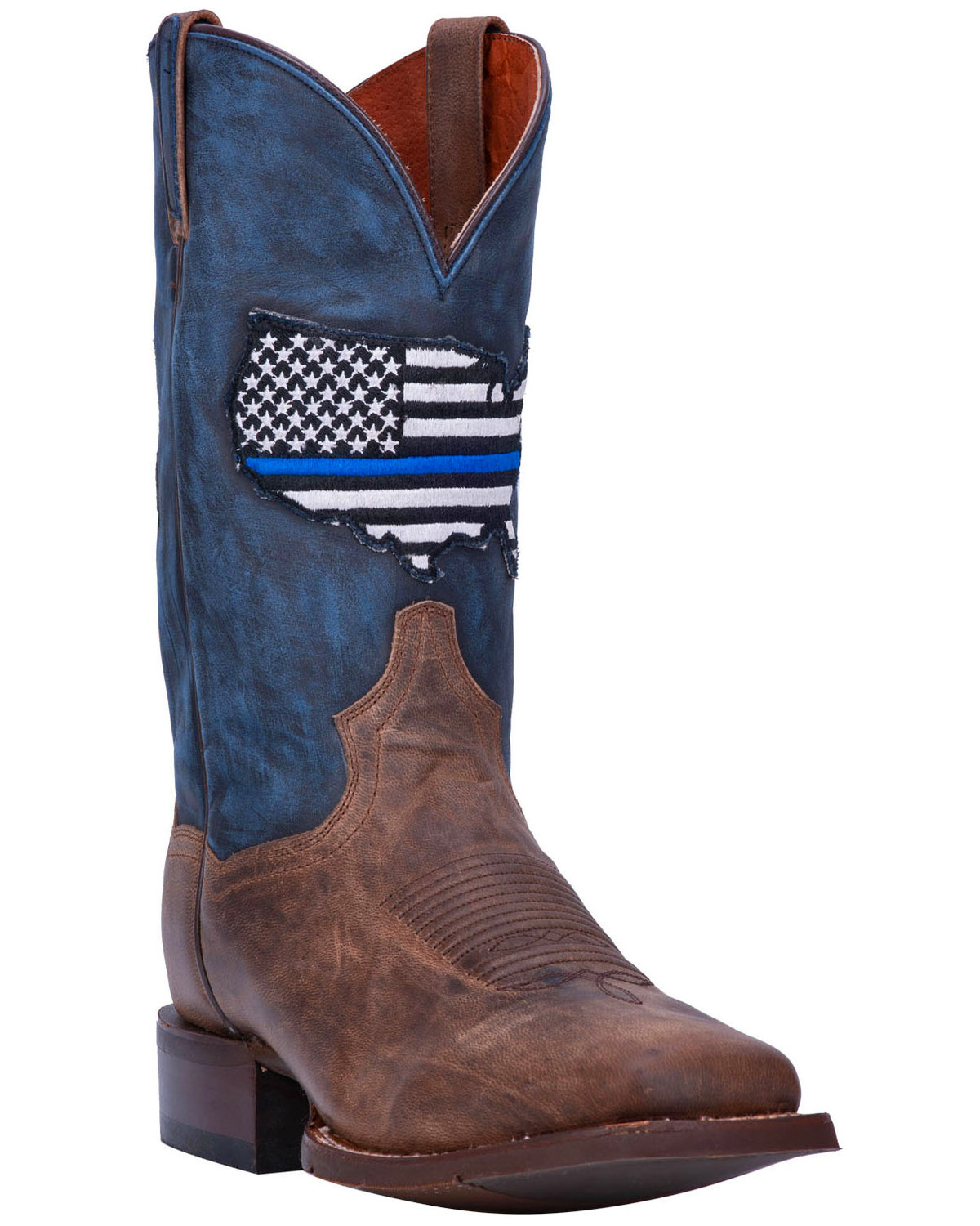 c491031ac8c Dan Post Men's Thin Blue Line Flag Patch Cowboy Boots - Square Toe
