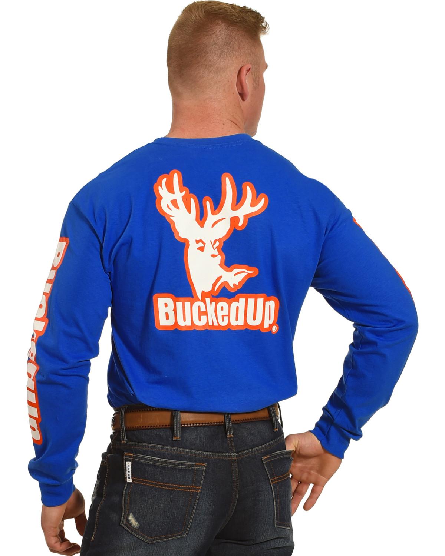 bucked up men s blue vibrant logo long sleeve shirt boot barn