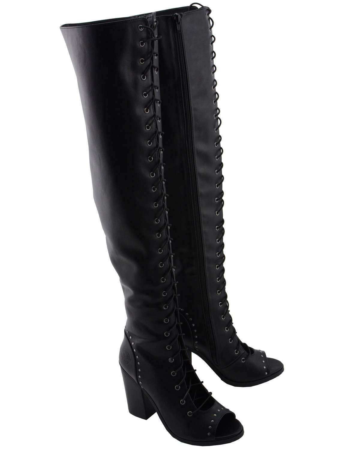 Milwaukee Leather Women s Open Toe Front Knee High Boots - Round Toe ... 7bc20b32d