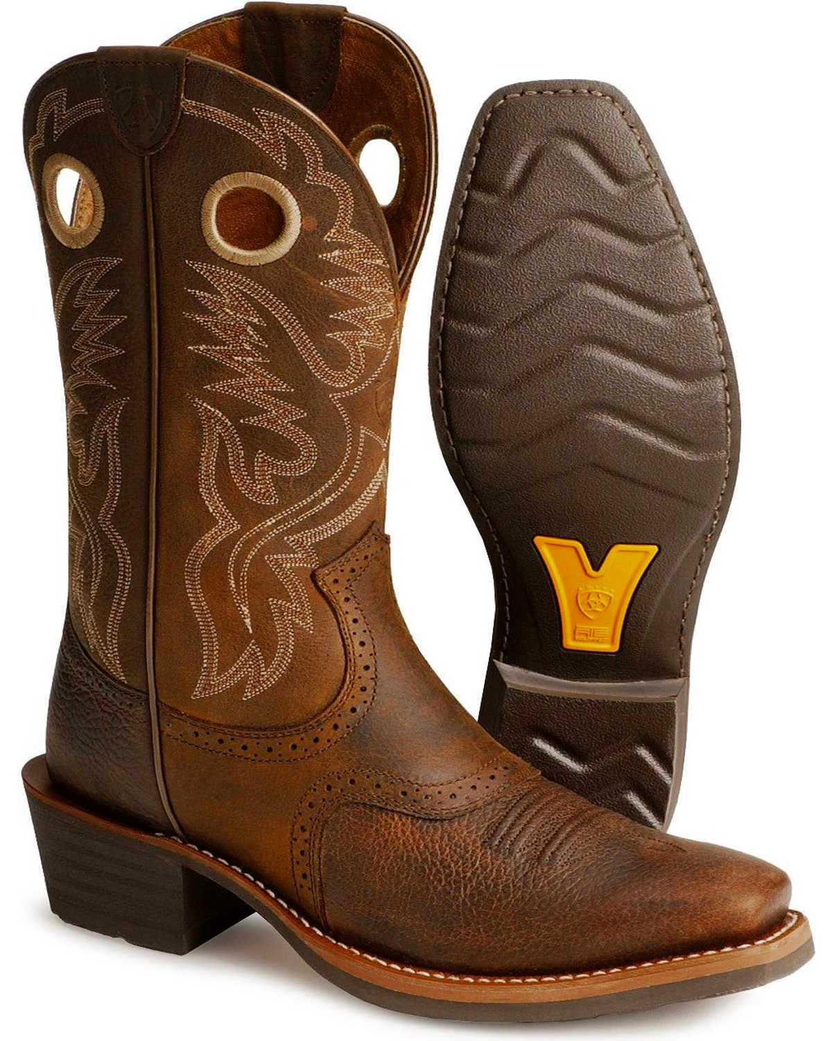 Ariat Heritage Rough Stock Cowboy Boots Square Toe