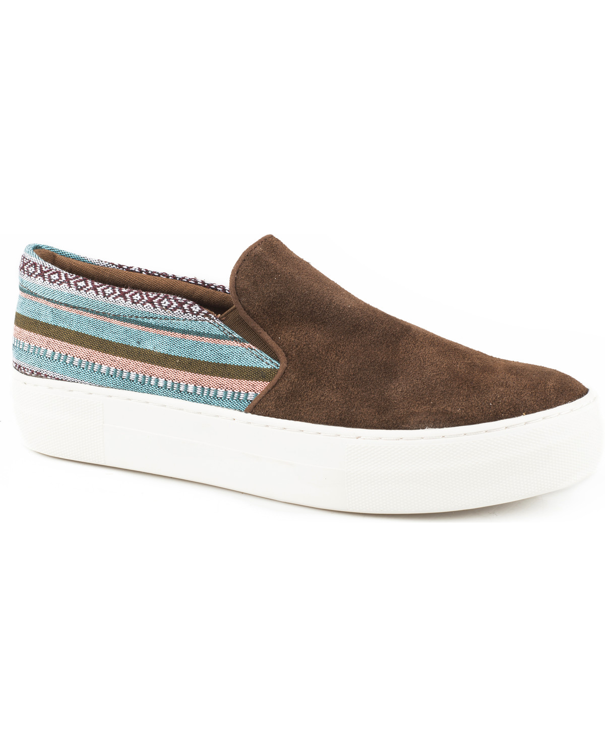 9c8a022c7d Roper Women's Darcy Brown Suede Woven Stripe Slip On Shoes - Round Toe