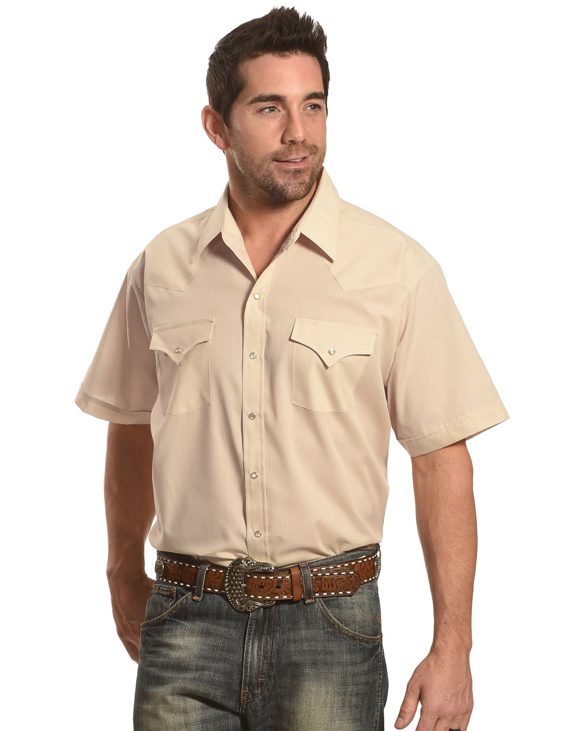 63c7fbdc Zoomed Image Ely Cattleman Men's Short Sleeve Solid Western Shirt - Big &  Tall , Khaki, hi