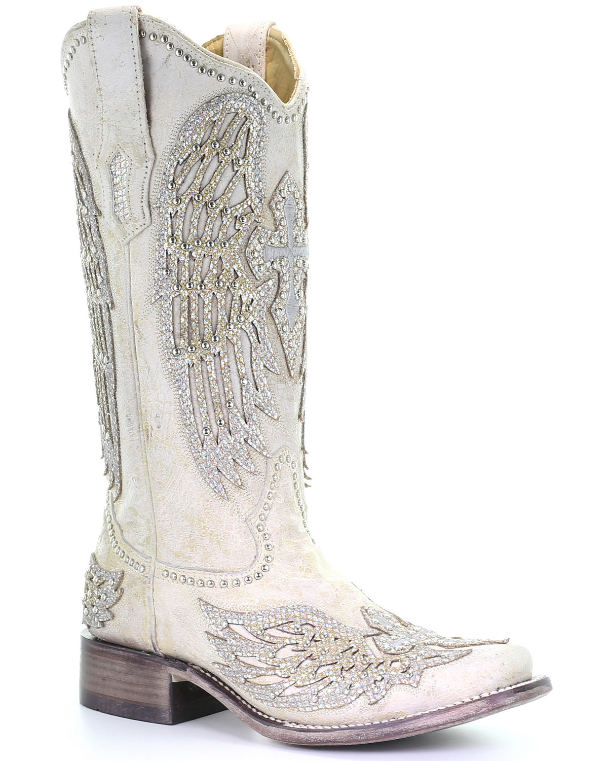 8707ceac765 Zoomed Image Corral Women's White Cross & Wings Western Boots - Square Toe,  White, ...