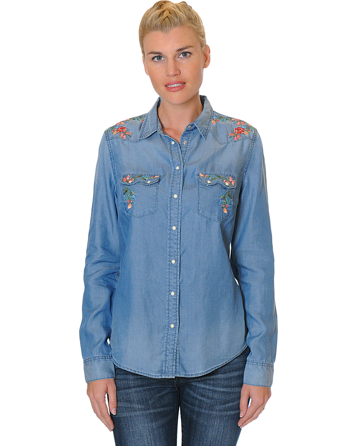 512dbbf3 Zoomed Image Grace in LA Women's Long Sleeve Denim Shirt with Floral  Embroidery, Medium Blue, hi