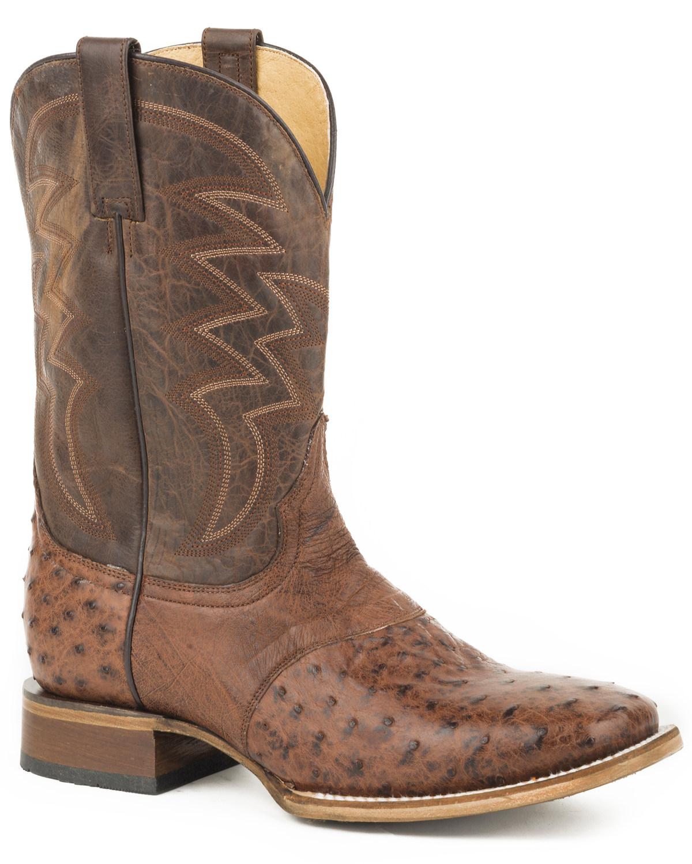 96963a186ec Roper Men's Brown Deadwood Ostrich Skin Boots - Square Toe