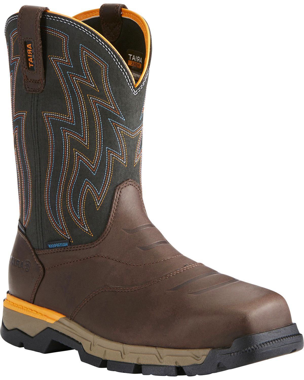 cab8ee912071 Ariat Men s Rebar Flex H2O Brown Western Work Boots - Composite Toe ...