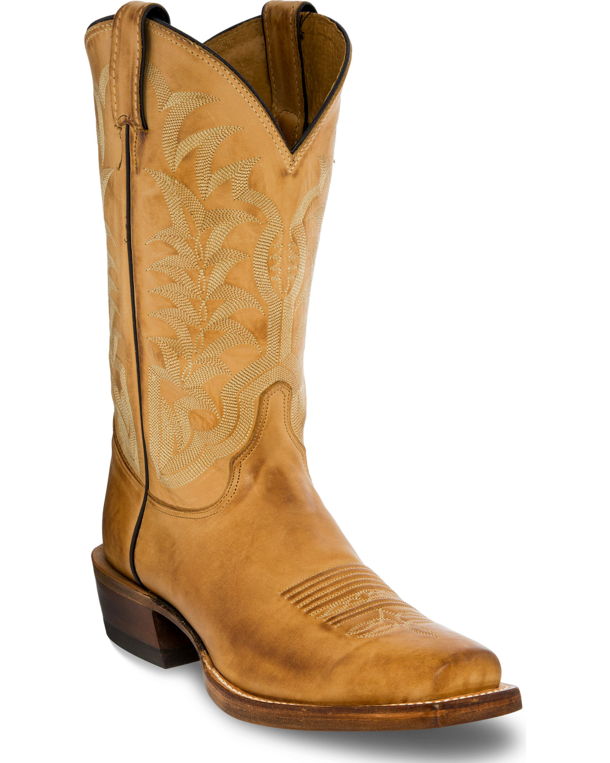 4fcd8c3b3b6 Justin Men's Distressed Light Brown Leather Cowboy Boots - Square Toe
