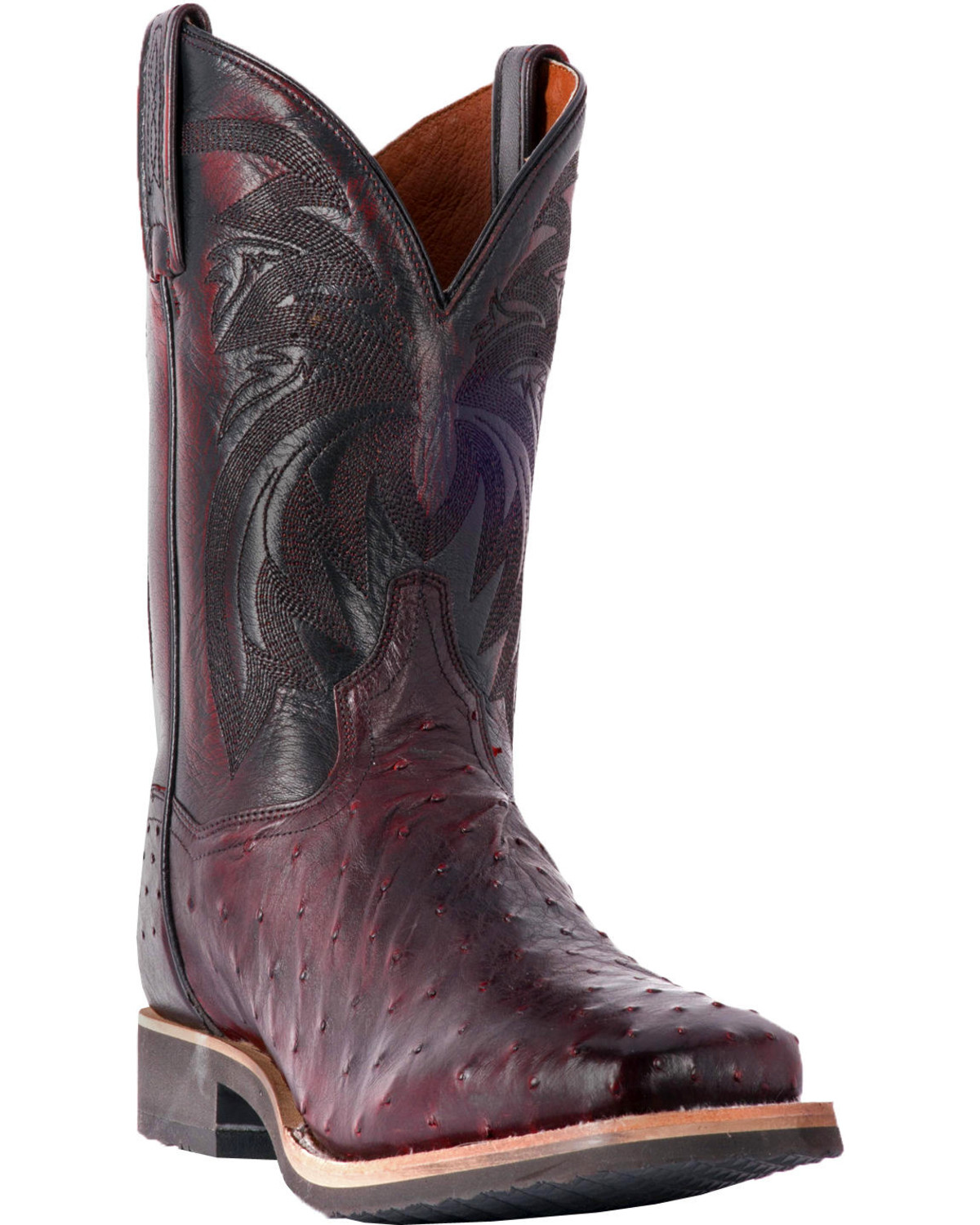 45d9a34fb8c Dan Post Men's Philsgood Black Cherry Full Quill Ostrich Boots - Square Toe