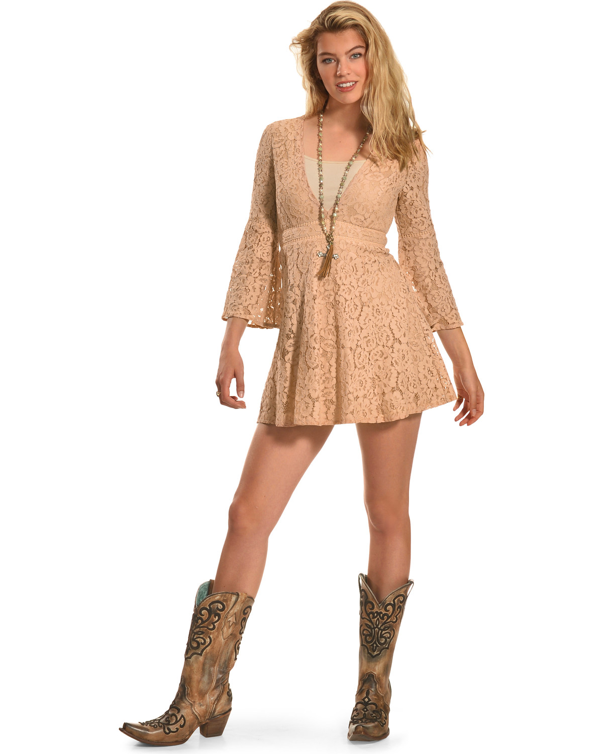 Young Essence Women s Long Sleeve Lace Dress  8c62336bf8