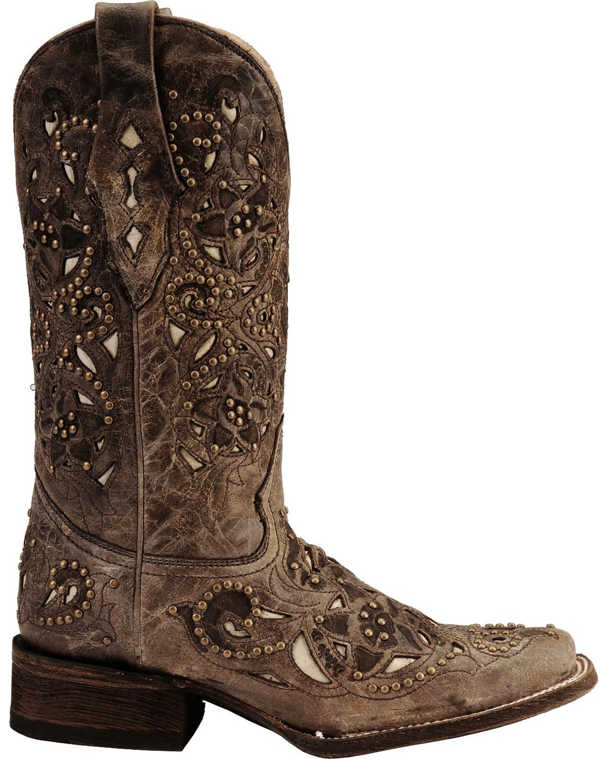 Perfect Corral Women's Vintage Inlay and Stud Square Toe Western Boots  ZG69