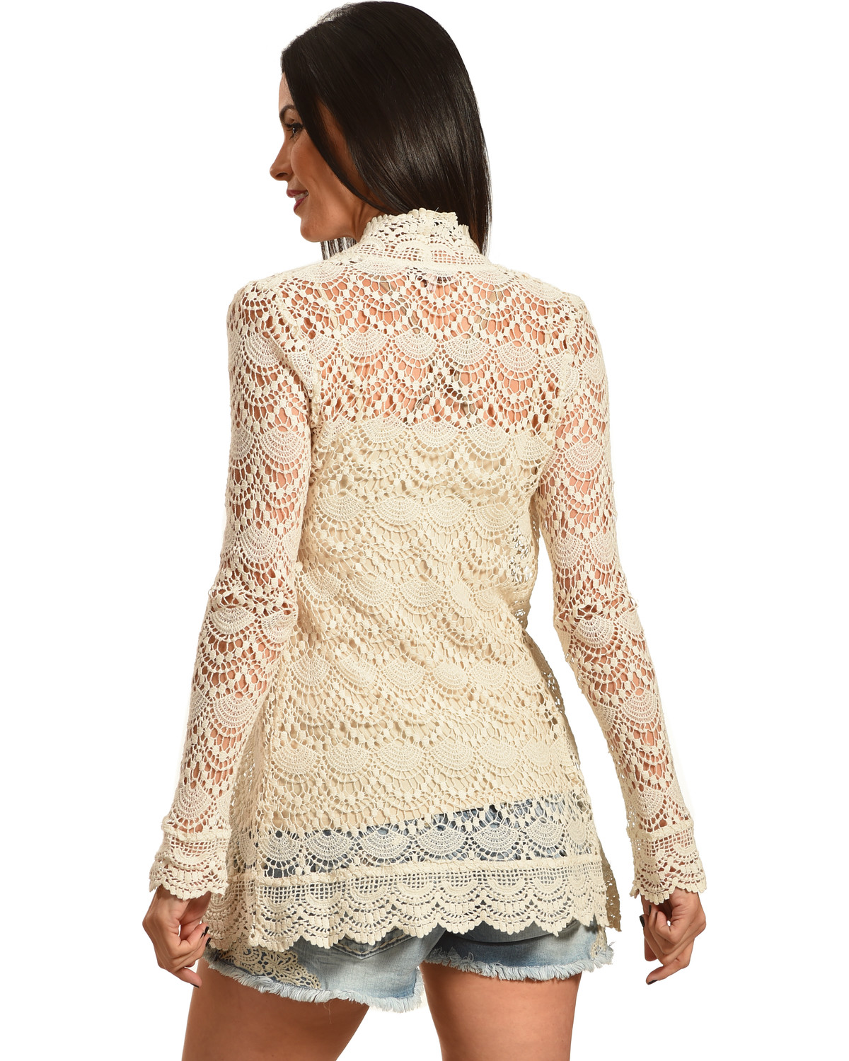 Young Essence Women's Beige Long Sleeve Lace Cardigan   Boot Barn