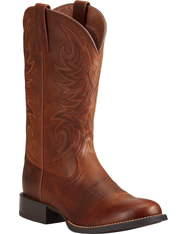 0ef5034277b Ariat Men's Sport Horseman Brown Cowboy Boots - Round Toe
