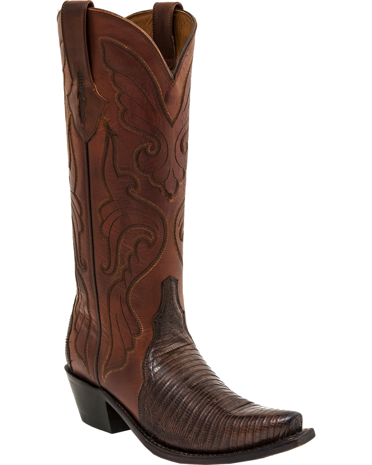 9400f1f4bc128 Zoomed Image Lucchese Handmade Carmen Lizard Triad Cowgirl Boots - Snip Toe  , Walnut, hi-res