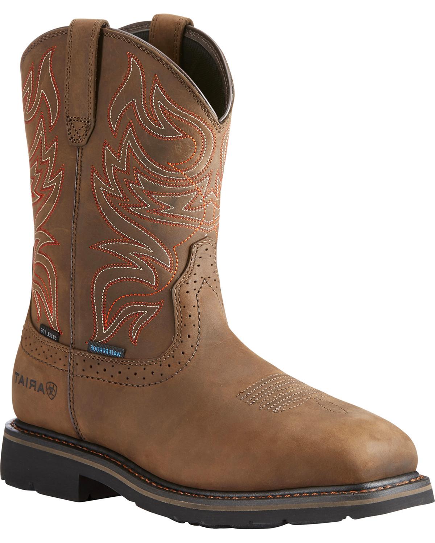 Ariat Men S Brown Sierra Delta H20 Work Boots Steel Toe Boot Barn