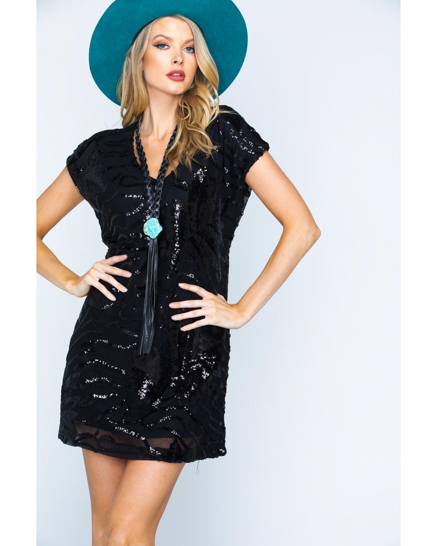 154187c6 Zoomed Image Illa Illa Women's Short Sleeve Sequin Dress, Black, ...