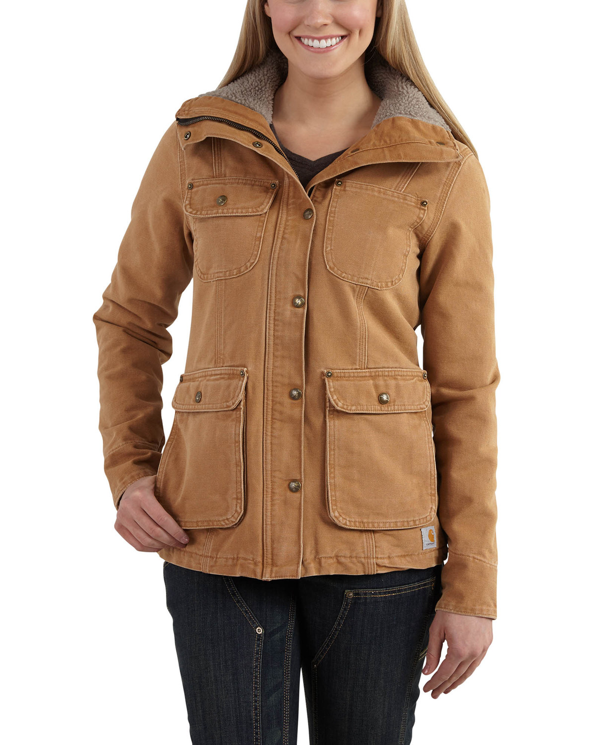 dcb28487f9 Zoomed Image Carhartt Women's Weathered Duck Wesley Coat, Carhartt Brown,  ...