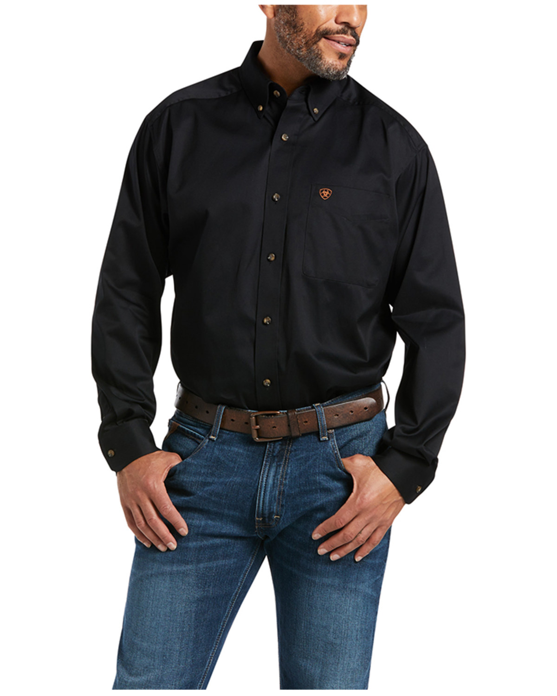 timeless design bb3a0 0008e Ariat Black Twill Cowboy Shirt - Big & Tall