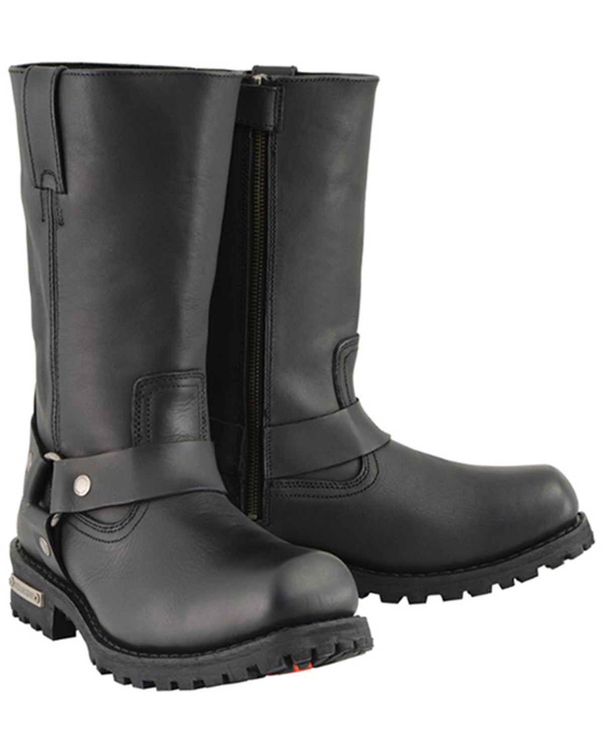 MEN/'S MOTORCYCLE RIDING LONG HARNESS LEATHER 11 INCH WATERPROOF SQUARE TOE BOOT
