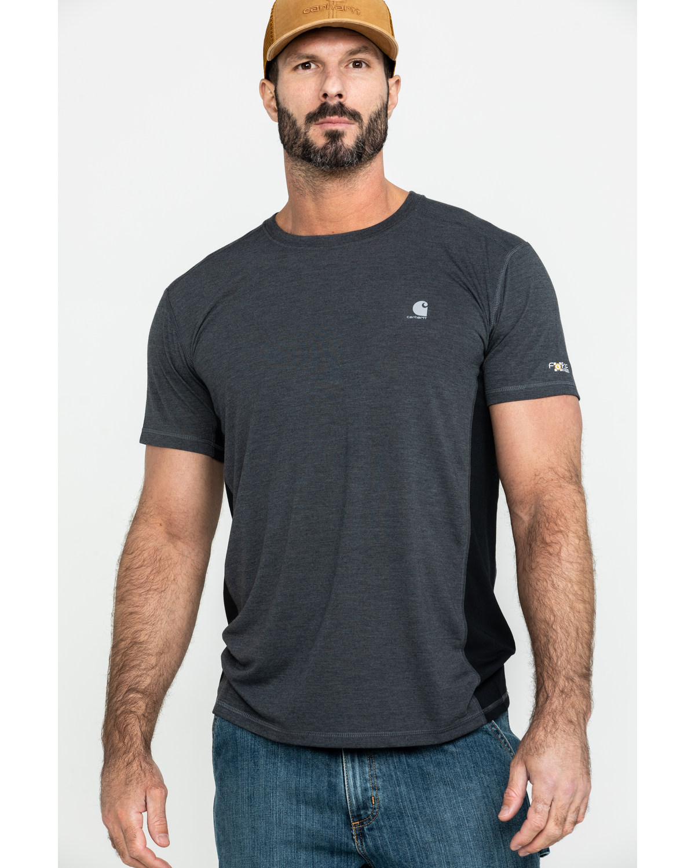 7680aeab20 Zoomed Image Carhartt Men's Black Heather Force Extremes Short Sleeve  T-Shirt, Black, hi-