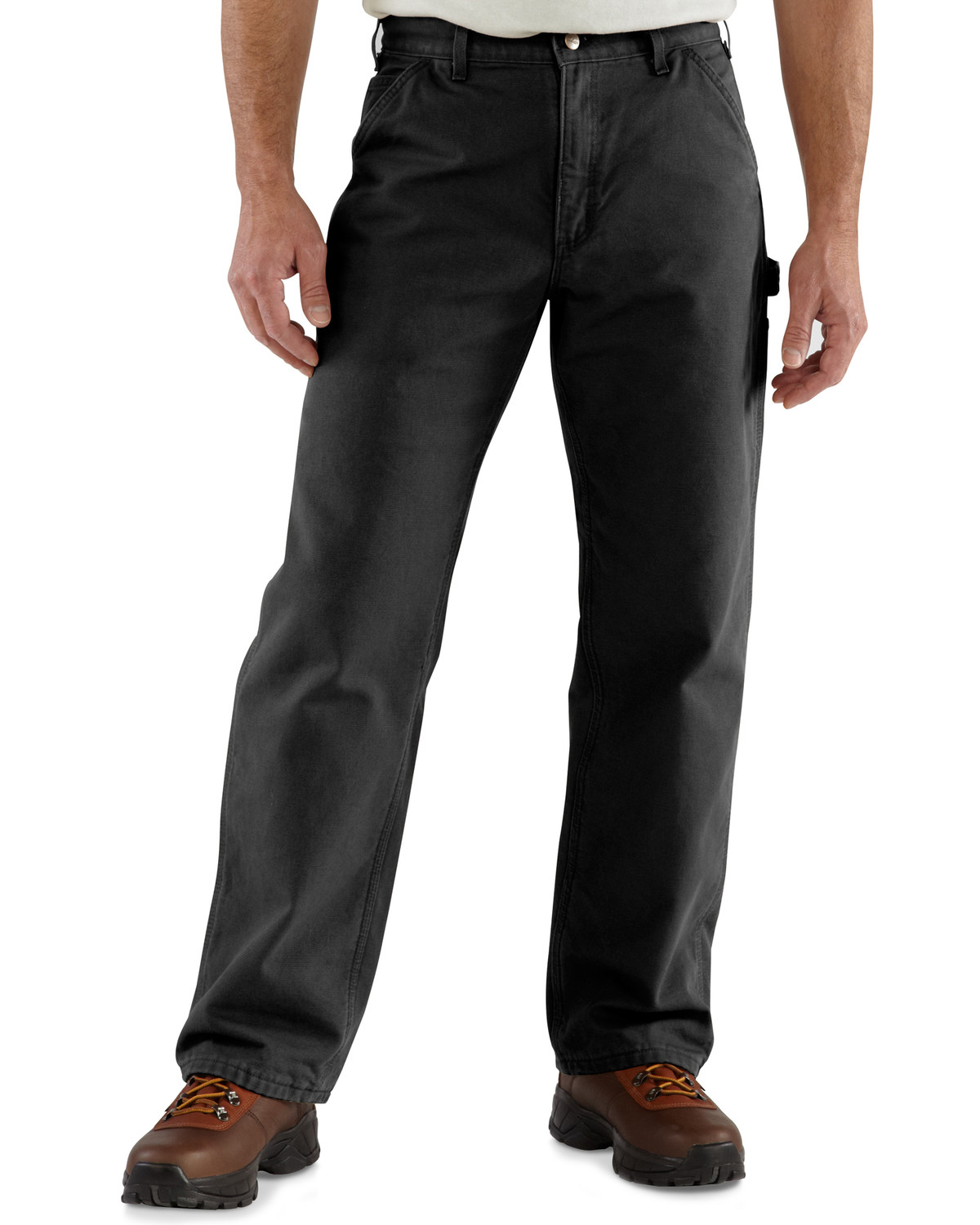 60dc98bbac Zoomed Image Carhartt Washed Duck Flannel Lined Dungaree Work Pants, Black,  hi-res