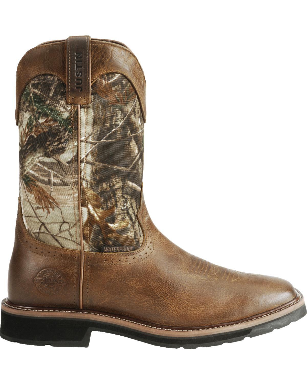 Justin Men S Stampede Camo Waterproof Work Boots Boot Barn