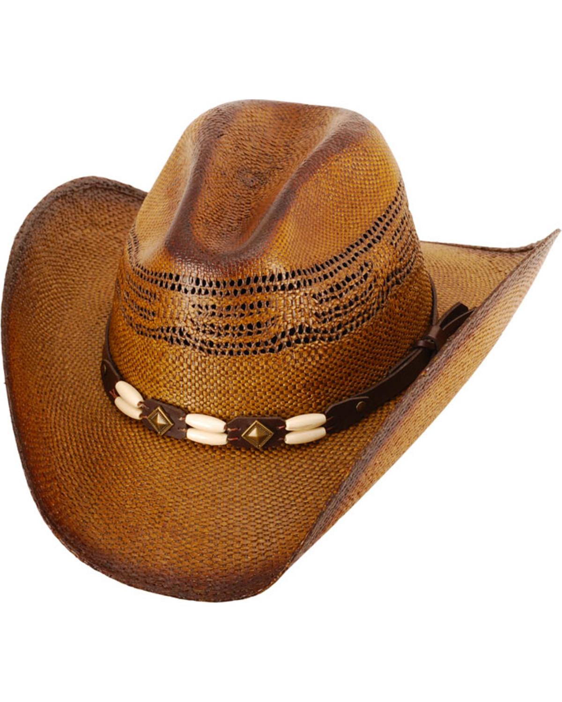 f1173fe1b1f Western Express Brown Brockway Straw Cowboy Hat