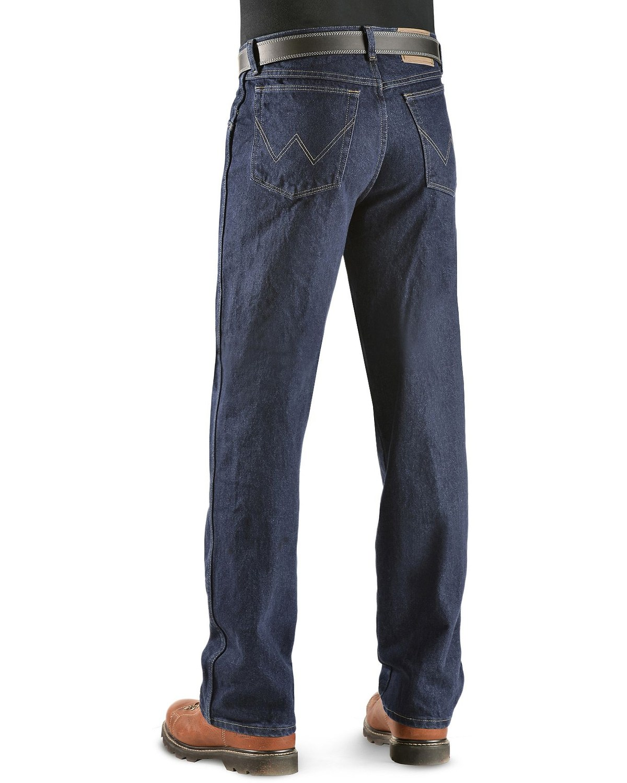 aafecf2d Zoomed Image Wrangler Men's Rugged Wear Classic Fit Jeans, Indigo, ...