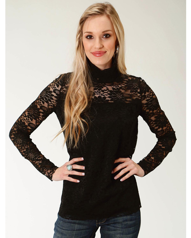 afe897e61065f7 Roper Women s Black Lace Mock Neck Top