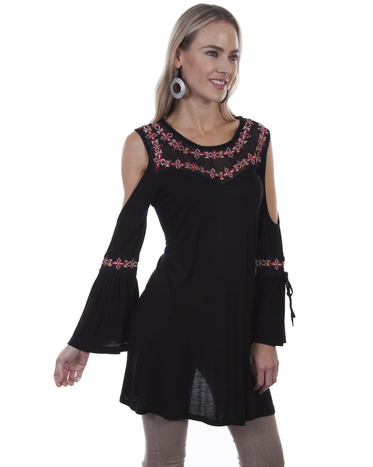 7223961130398e Honey Creek by Scully Women s Black Embroidered Cold Shoulder Top ...