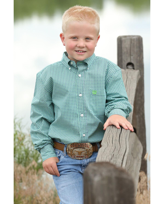 66a1a5db3 Zoomed Image Cinch Boys' Geo Print Button Long Sleeve Western Shirt ,  Multi, hi-res