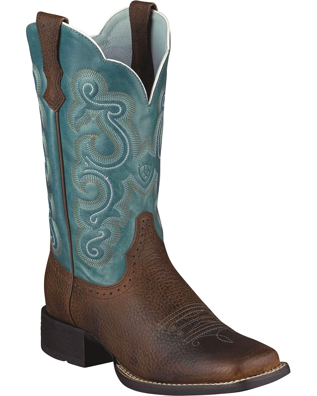 Ariat Quickdraw Blue Fancy Stitched Cowgirl Boots Square