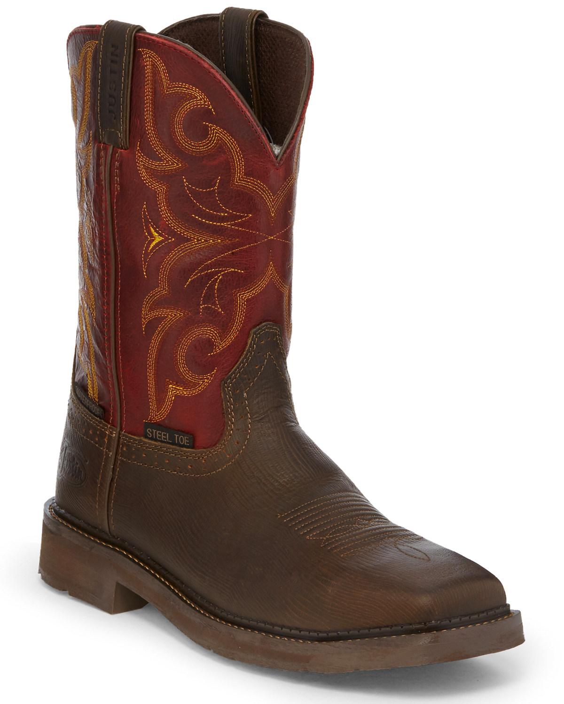 793c08f2bc7 Justin Men's Oxblood Waterproof Western Work Boots - Steel Toe