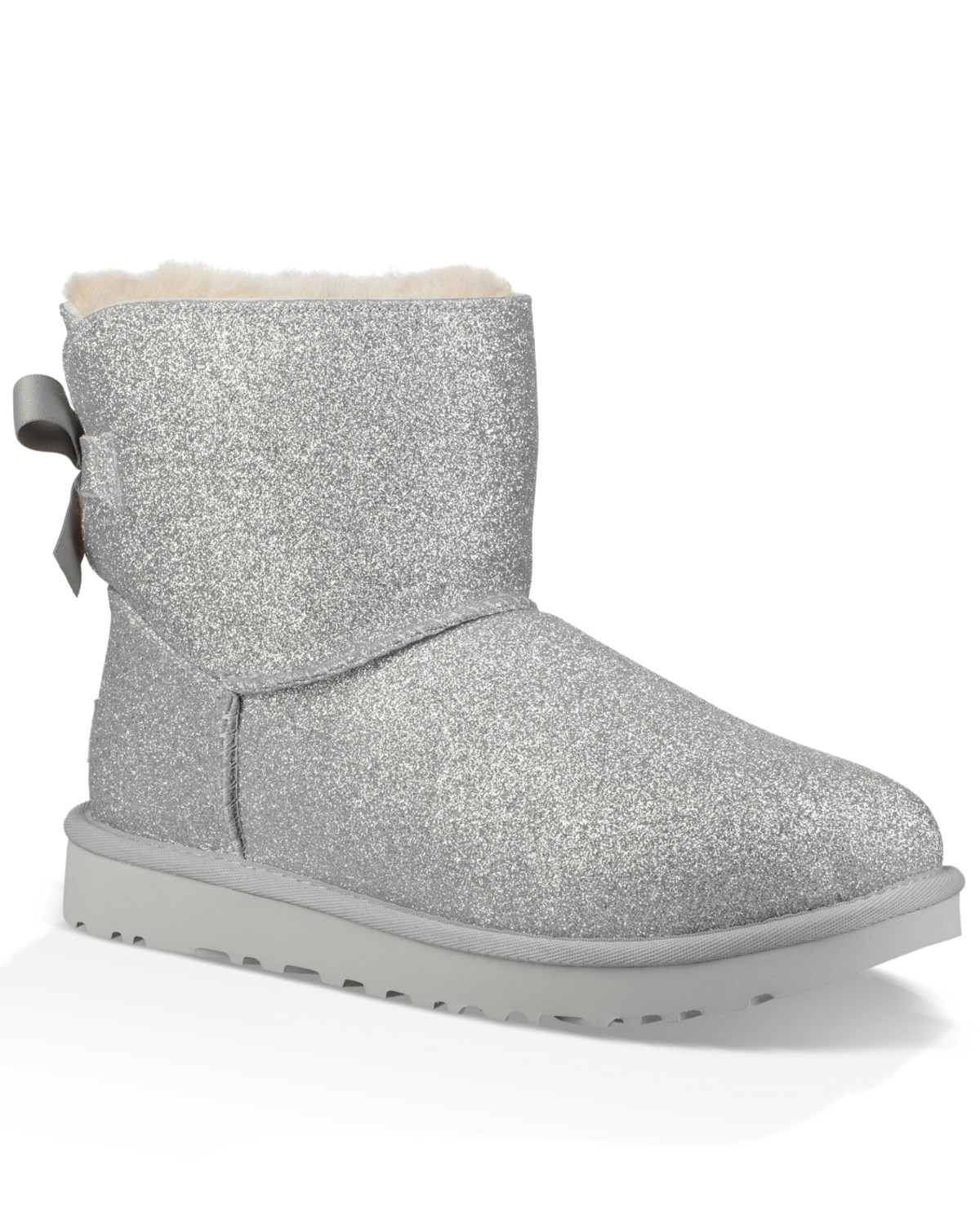 22613b6dd5e UGG Women's Silver Mini Bailey Bow Sparkle Boots - Round Toe