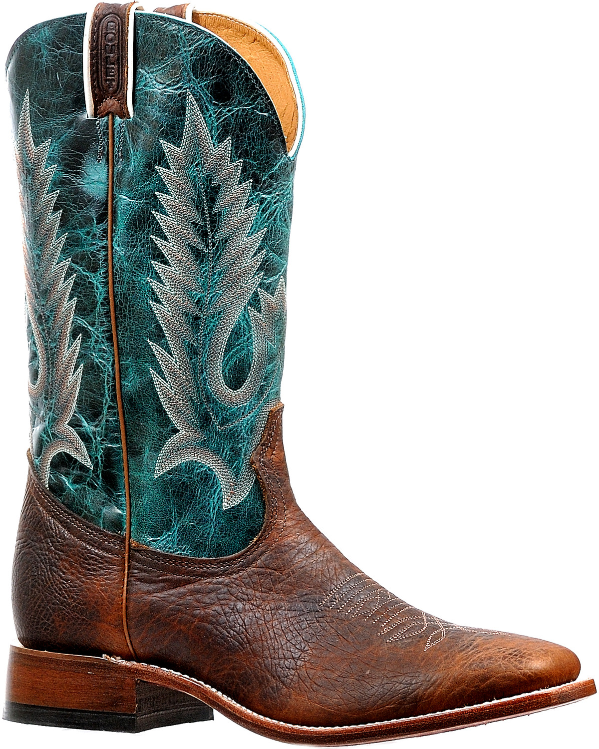 2062174c0cb Boulet Men's Brown/Turquoise Stockman Cowboy Boots - Square Toe