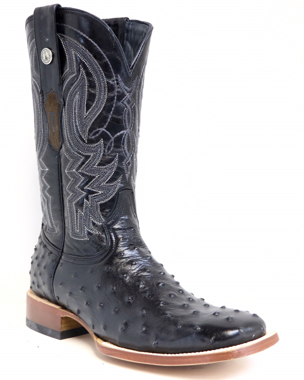 3ca4704f583 Tanner Mark Men's Black Ostrich Print Western Boots - Square Toe