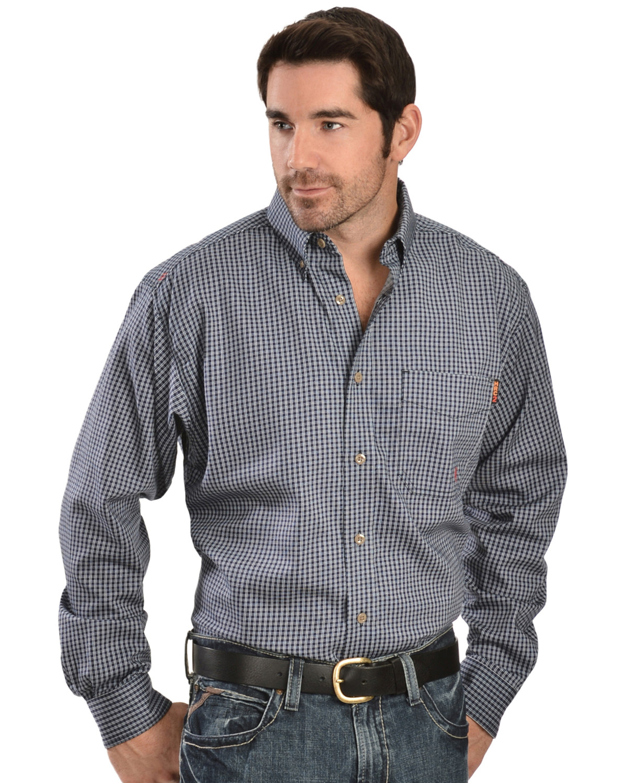 09f1813dccb Ariat Men s Fire Resistant Plaid Long Sleeve Work Shirt