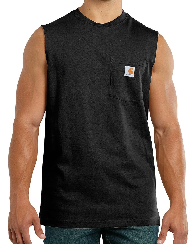 ac296a9b1 Zoomed Image Carhartt Men's Workwear Sleeveless T-Shirt, Black, ...
