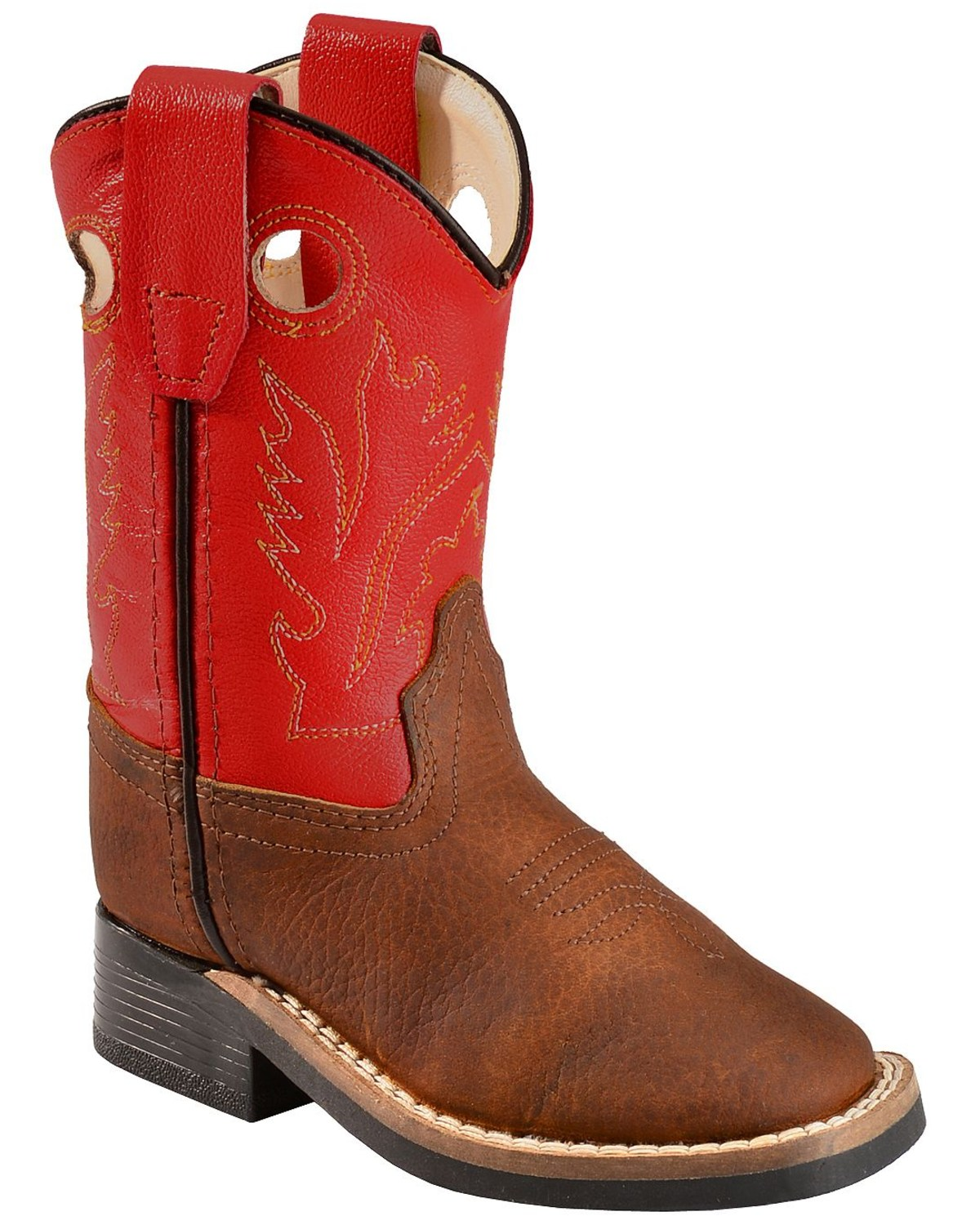4a83f667fdb Old West Toddler Boys' Orange Cowboy Boots - Square Toe