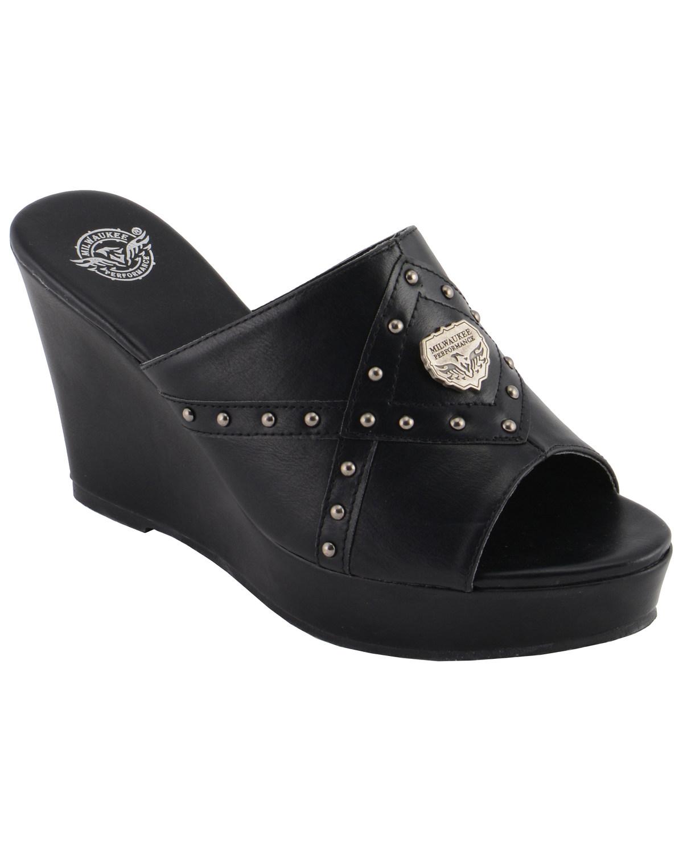 black open toe wedge sandals