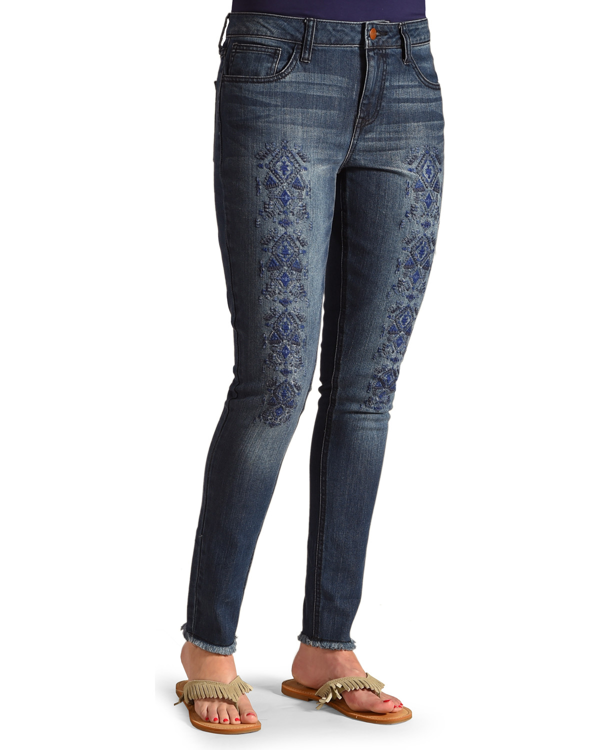 a5241396 Zoomed Image Wrangler Women's Embroidered Tribal Print Skinny Jeans ,  Indigo, hi-res. Zoomed Image ...