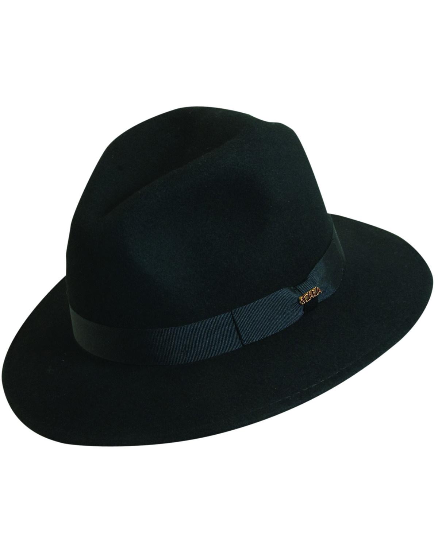 9778a1a0 Zoomed Image Scala Men's Black Wool Felt Safari Hat, Black, hi-res