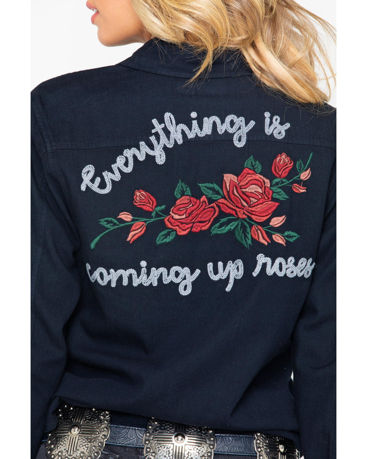 Rock and Roll Cowgirl Women s Rose Embroidered Long Sleeve Shirt ... 1b97dd4bb7