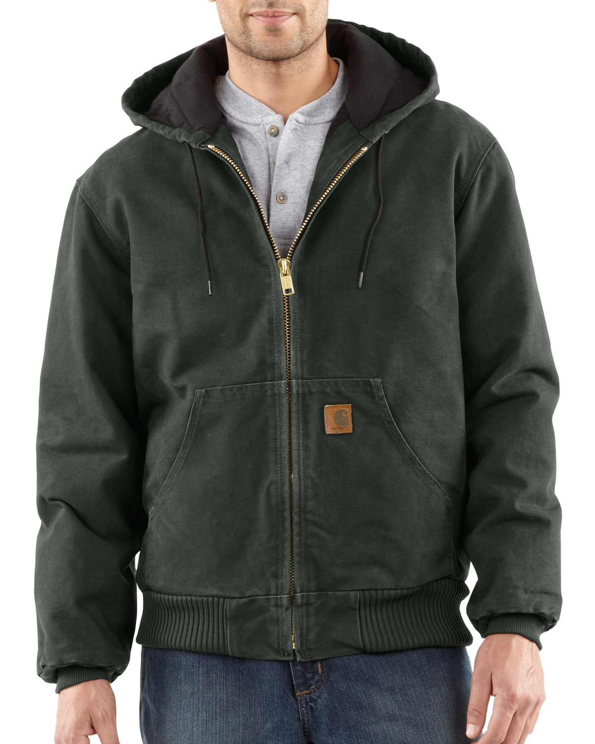 26df6d8342c83 Zoomed Image Carhartt Men's Sandstone Active Quilted Flannel Lined Jacket,  Moss, ...