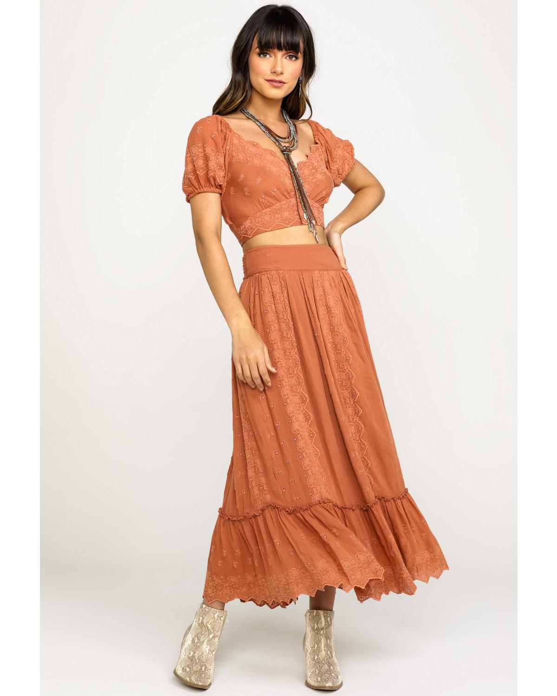823e774d8d9f Zoomed Image Free People Women's Pink Ella Off The Shoulder Maxi Skirt Set,  Pink, hi-