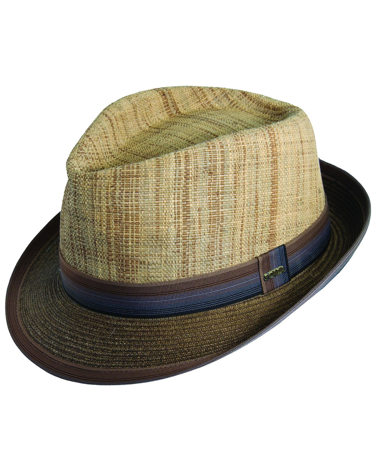 78f9c32b353 Zoomed Image Scala Men's Brown Raffia & Paper Braid Fedora Hat, Brown,  hi-res