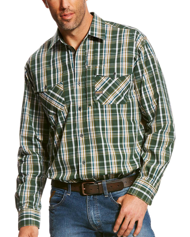 Ariat Men S Rebar Liam Plaid Long Sleeve Work Shirt Boot Barn