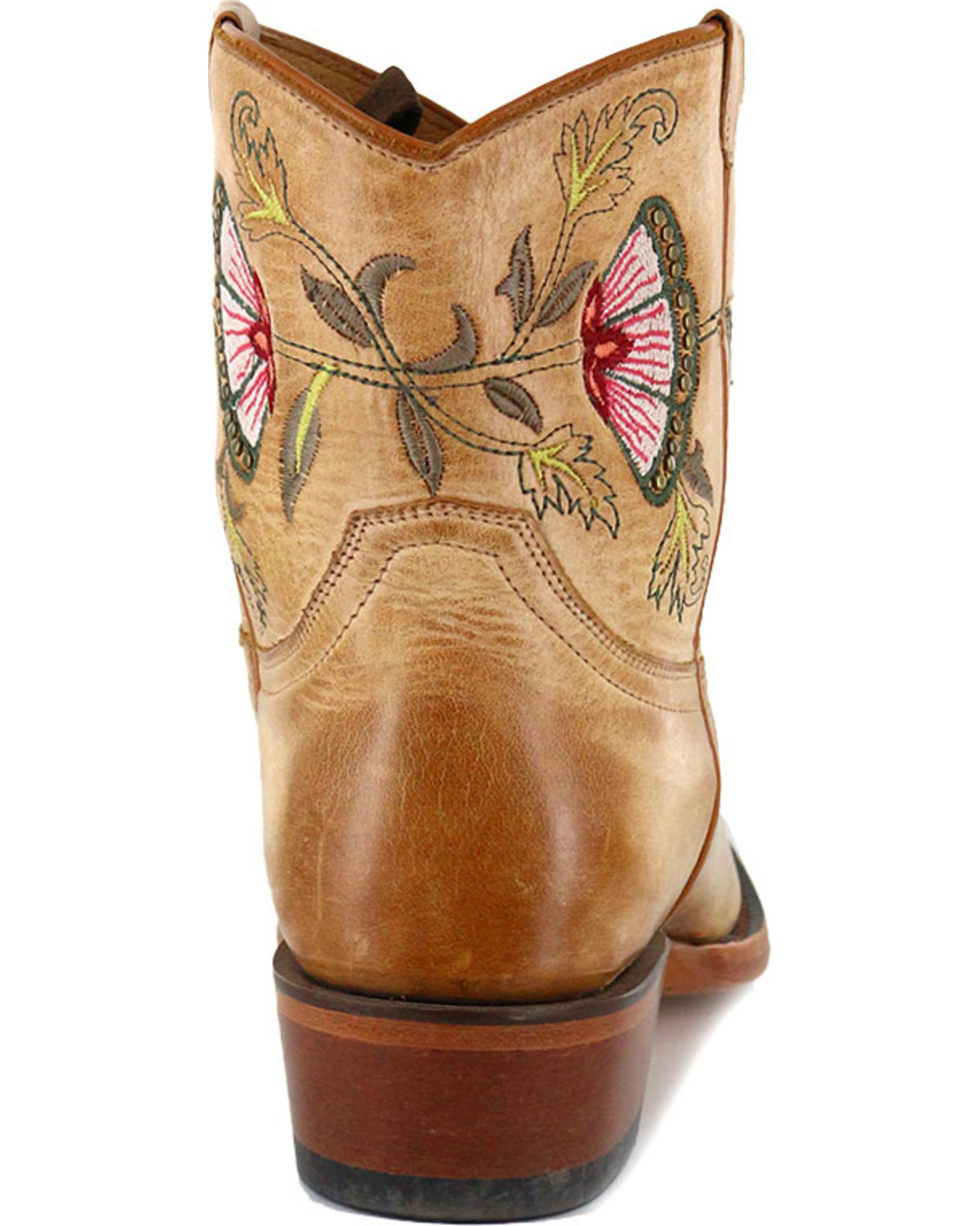 Stetson Women's April Pink Floral Embroidered Western Boots - Snip Toe,  Pink, hi-