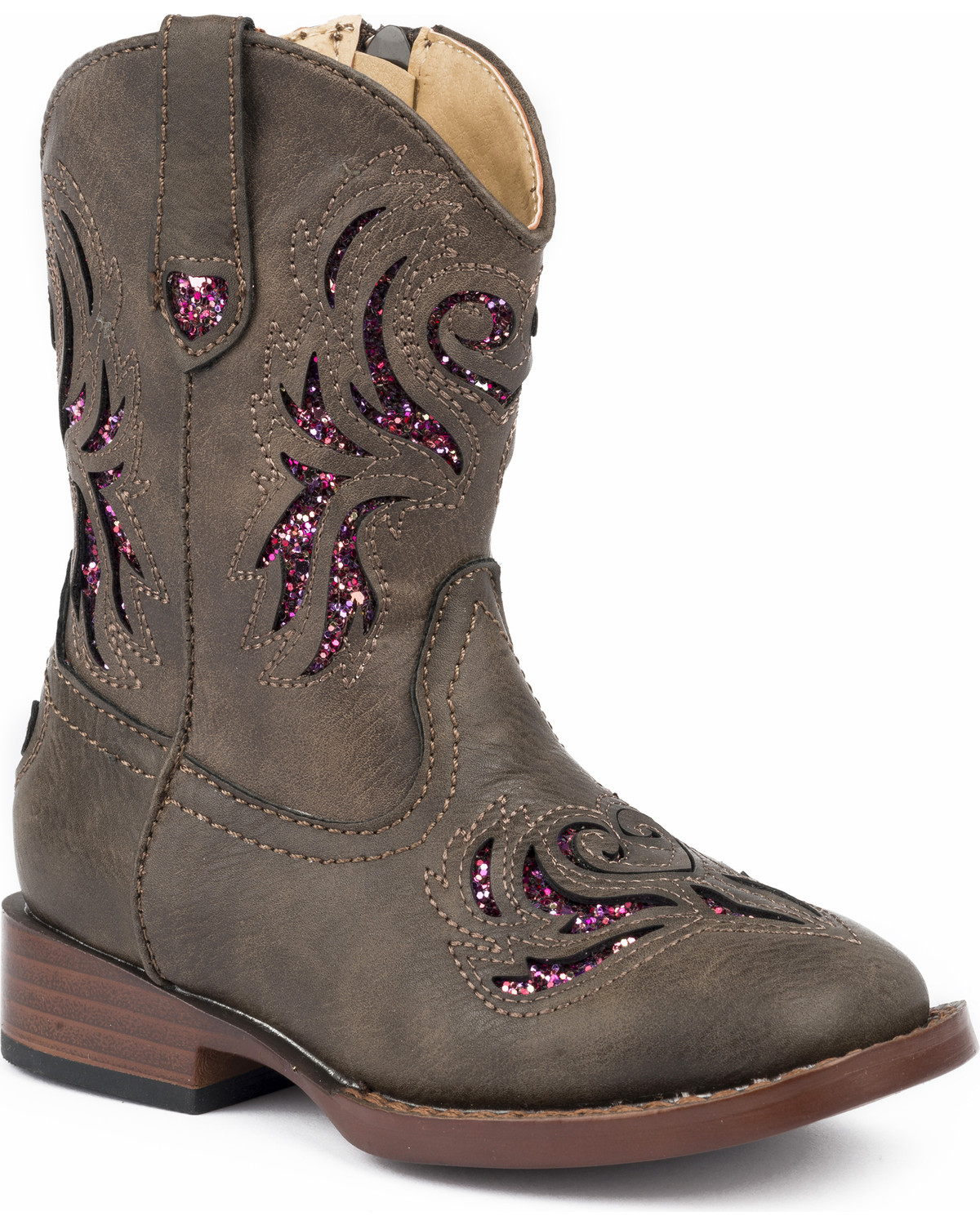 343a0619681 Roper Toddler Girls' Brown Glitter Breeze Cowgirl Boots - Square Toe
